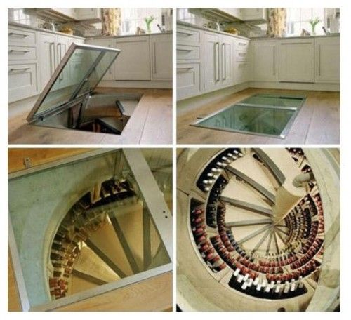 Unreal! Spiral stairs from kitchen floor going through a wine cellar ...