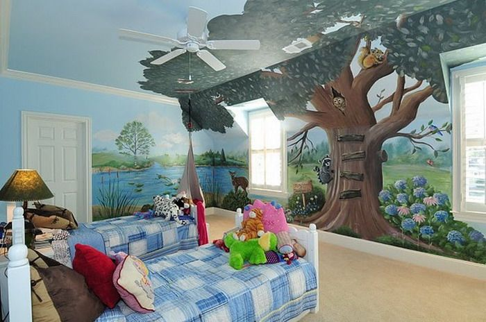 Kids Bedroom Ideas With Forest Wall Mural Ideas Jpg 700 464 Kids Room Wall Murals Kids Room Murals Kids Wall Murals