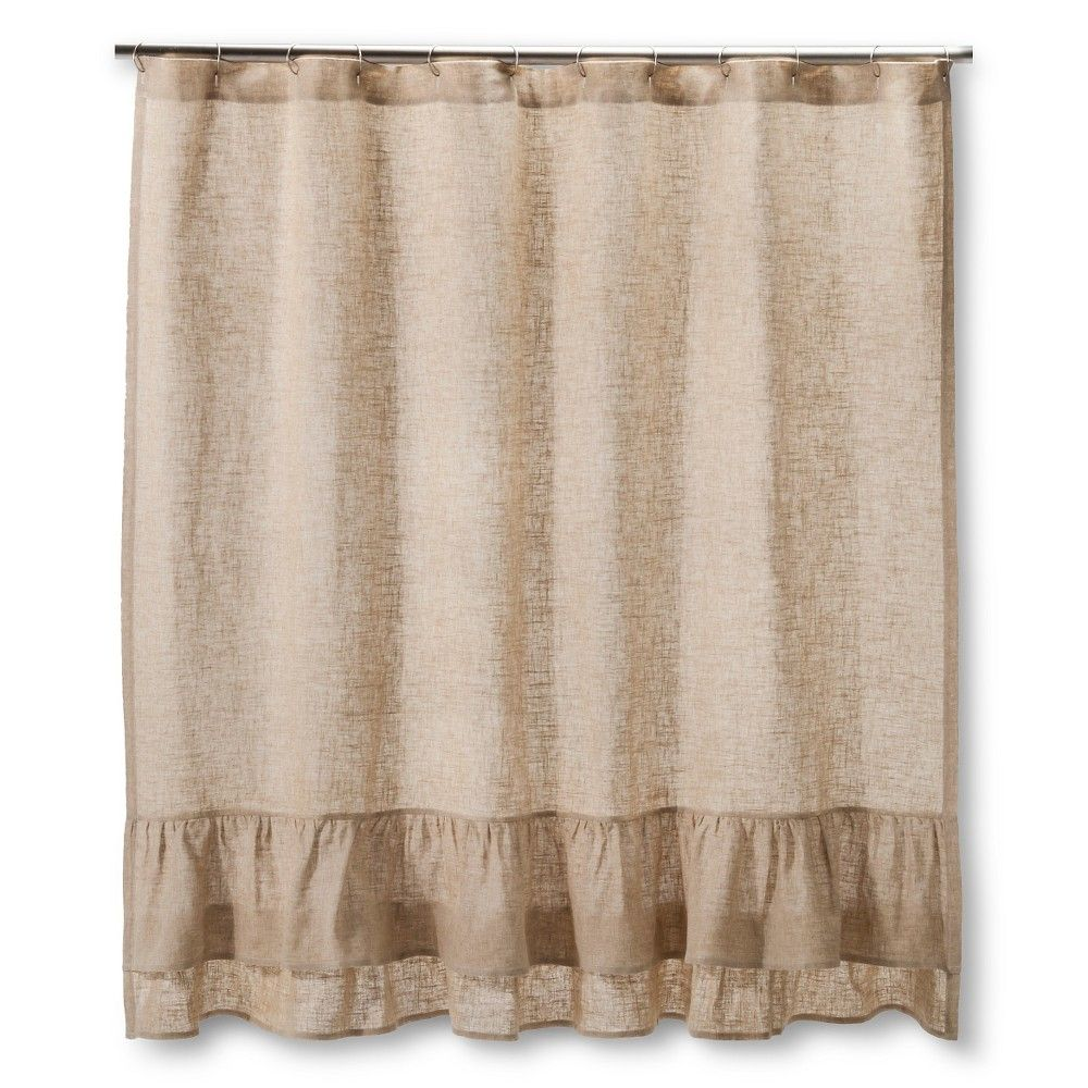 Homthreads Burlap Ruffles Shower Curtain