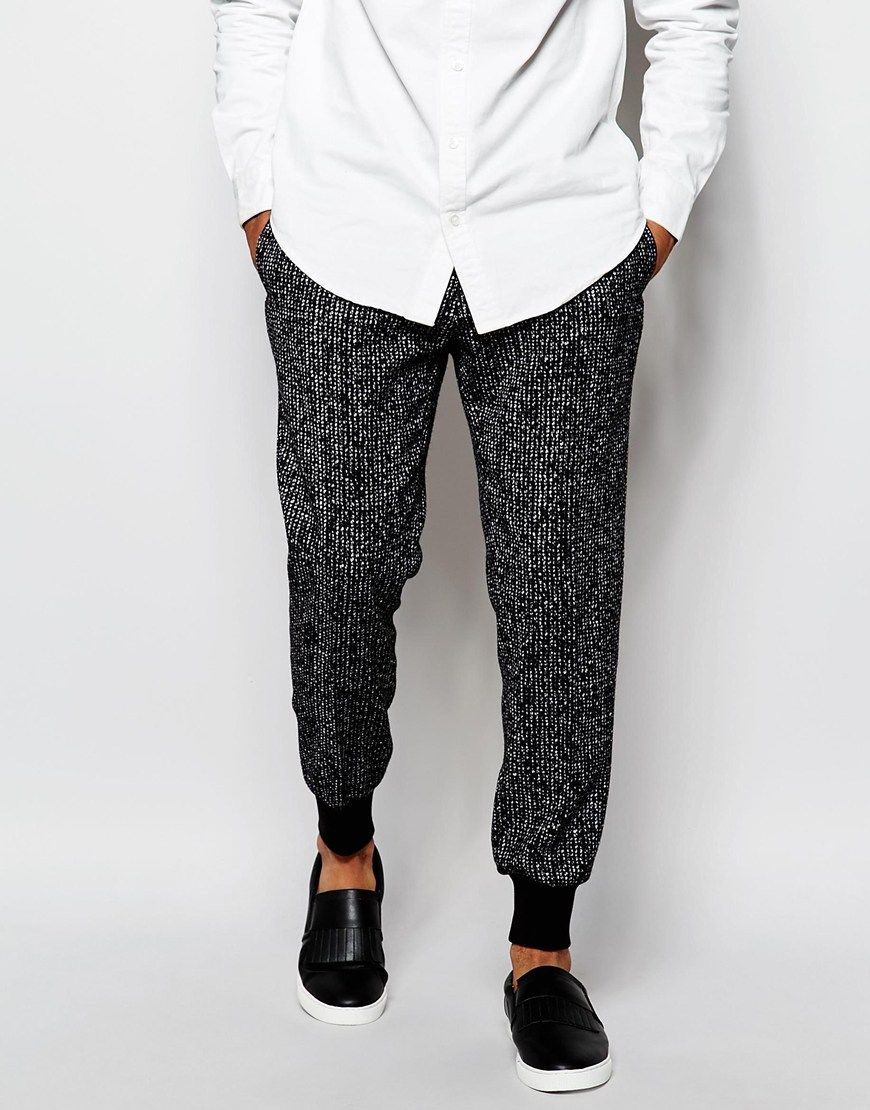 ASOS Slim Smart Joggers In Textured Fabric at asos.com