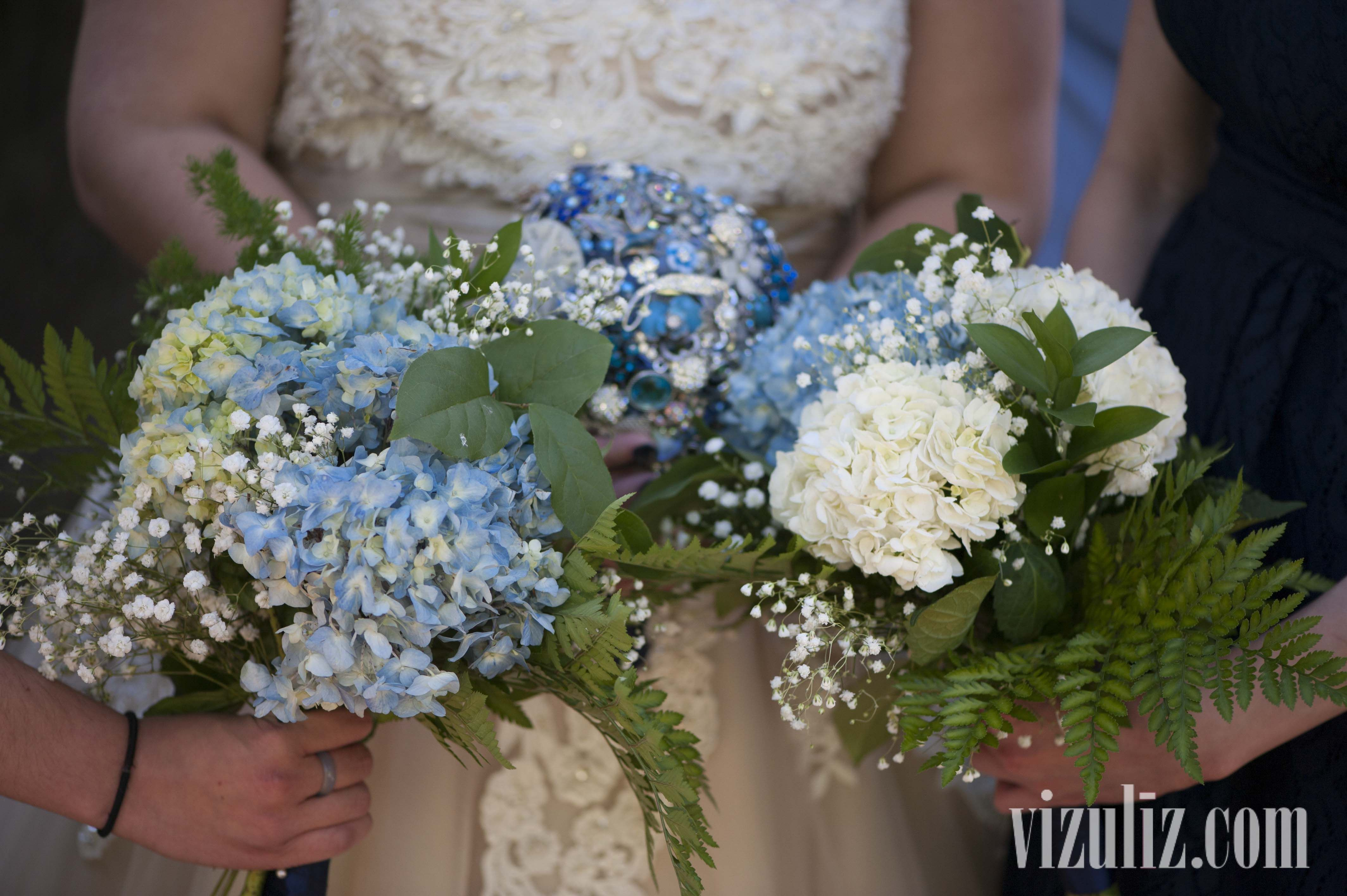 Bride's bouquet was made from brooches