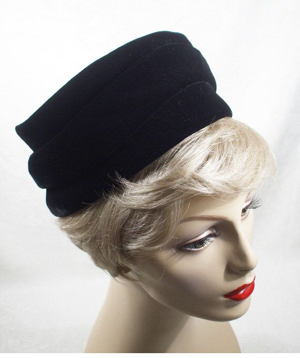 Vintage Hat Black Velvet Sally Victor Pillbox 1960s 60s. $42.00, via Etsy.