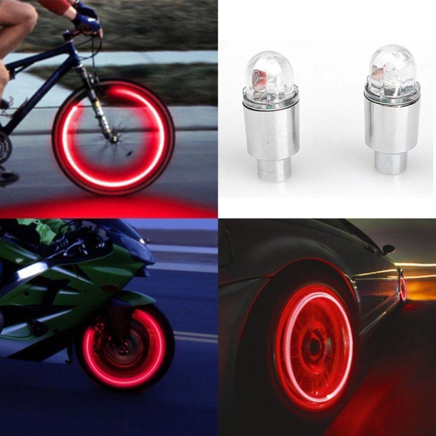 Bike Bicycle Car Motorcycle Wheel Tire Valve Stem Cap LED Lights Lamp Universal