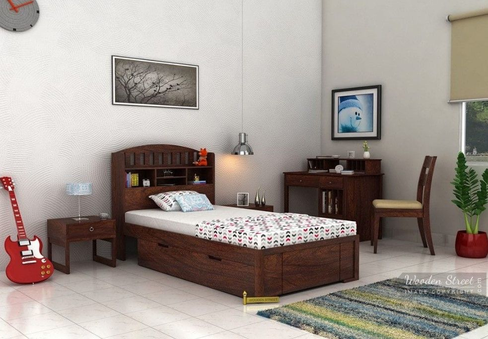 Buy Arista Single Bed With Storage Walnut Finish Online In India Bed Furniture Design Single Beds With Storage Bed Design