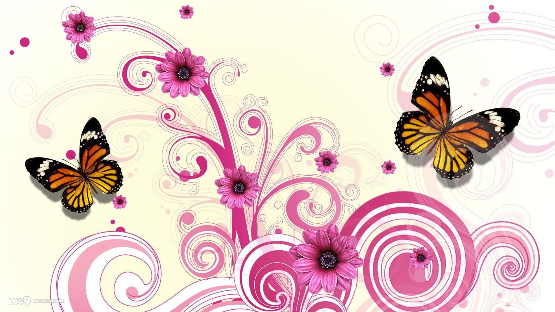 Butterfly Pink Flower Vector Wallpaper Widescreen for