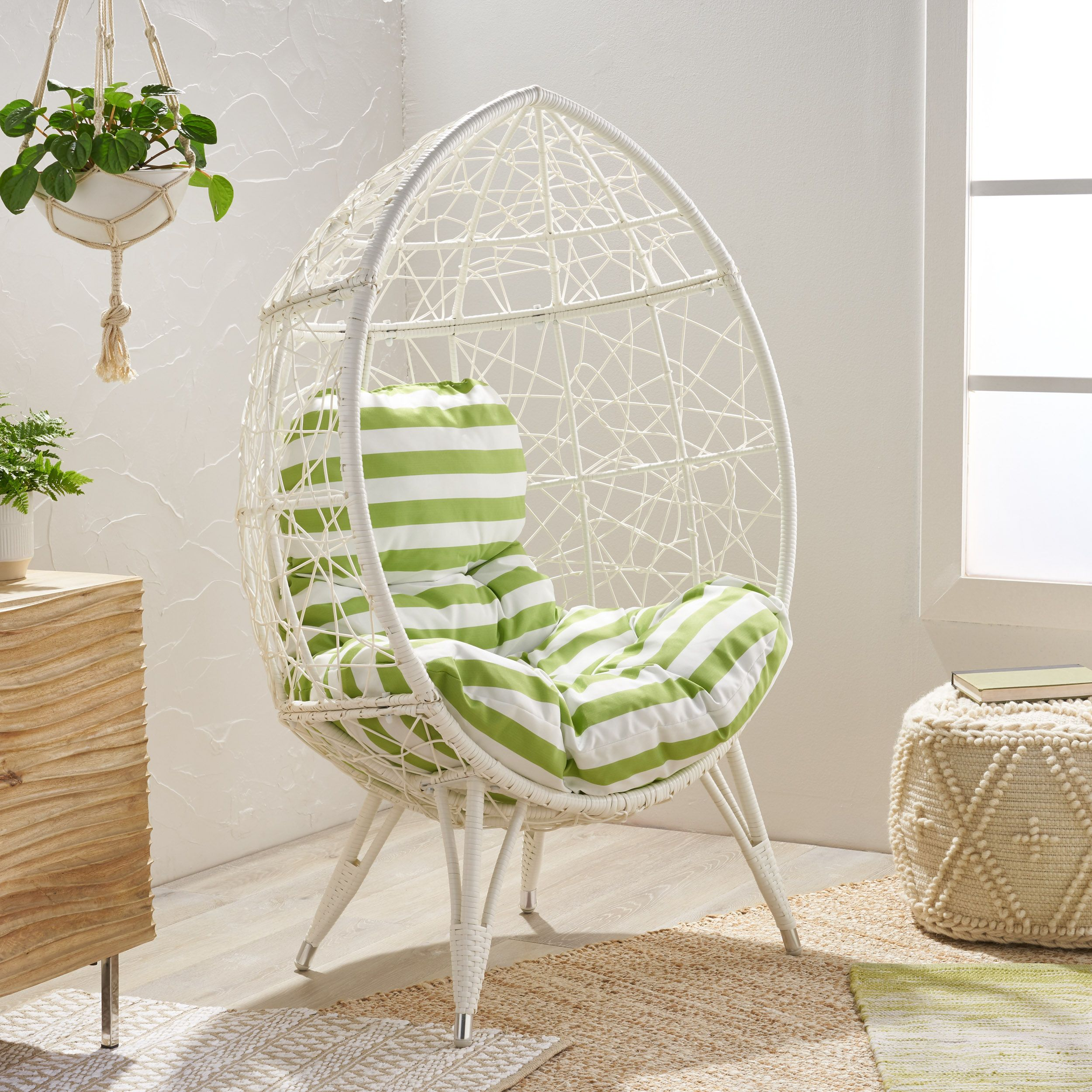 Noble House Daziyah Faux Rattan Teardrop Chair with