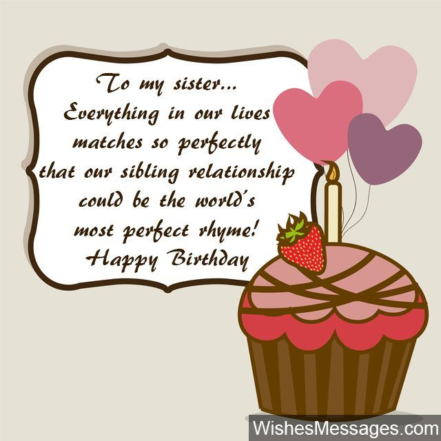 Birthday cup cake with heart balloons wishes for sister – Birthday Card Message for Sister