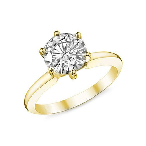 This solitaire diamond ring is hand crafted from 14K or 18K gold with a 1.00 carat brilliant cut diamond. The diamond is held in a 6 Prong mounting so that the diamond is visible in its full size. This diamond ring is available in all standard ring sizes.