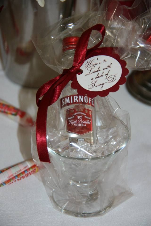 Martini favor all wrapped up and personalized with a gift tag. Mini ...