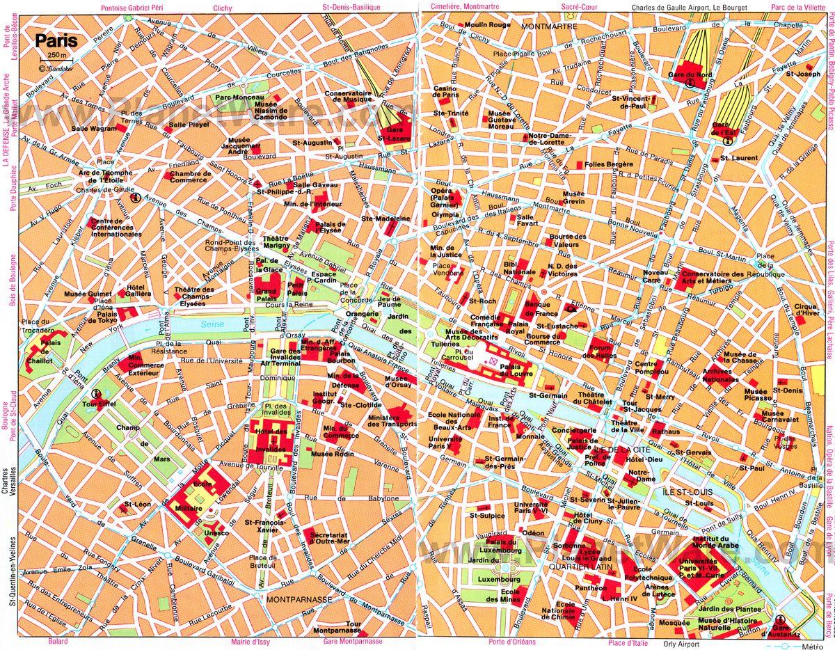 Paris Map With Attractions.Paris Map Attractions Paris Paris Map Paris Travel Paris