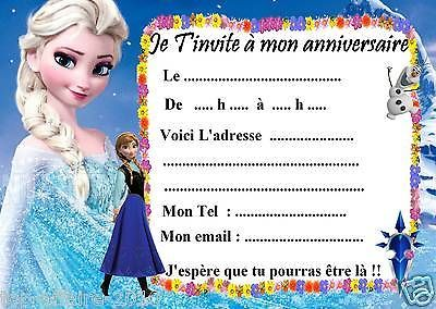 5 Cartes Invitation Anniversaire Disney La Reine Des Neiges 03 D