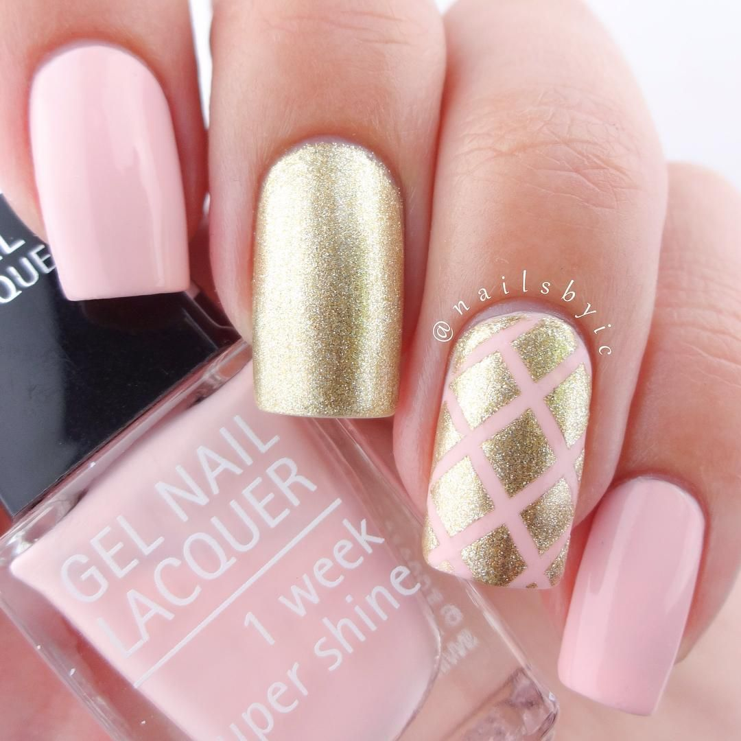 pink + gold #nails with striping tape diamond accent nail | feminine ...
