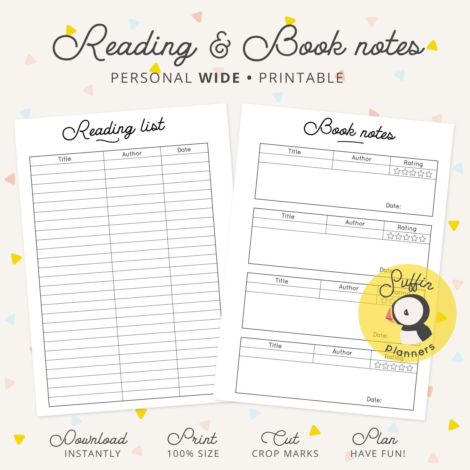 graphic about Reading Journal Printable named Looking at checklist planner, Particular person extensive inserts, Ebook notes