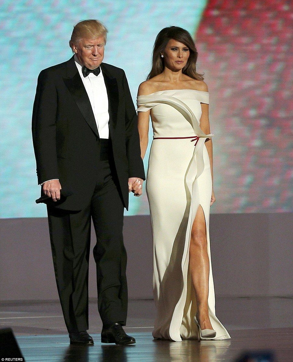 1259dec891b7 A stunning Melania Trump let her hair down as took to the stage at the  Liberty Ball at the.