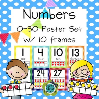 Liven up learning numbers 0-30 with this polka dot set of number cards with 10 frames. This set includes 8x10 poster cards for wall display and also 5x7 and now new 4x5 size cards to put with your math centers for 10 frame practice.  This set has been expanded to include posters with a pennant banner in the upper left corner as well as the original polka dot borders. Choose the one you like best or mix and match.