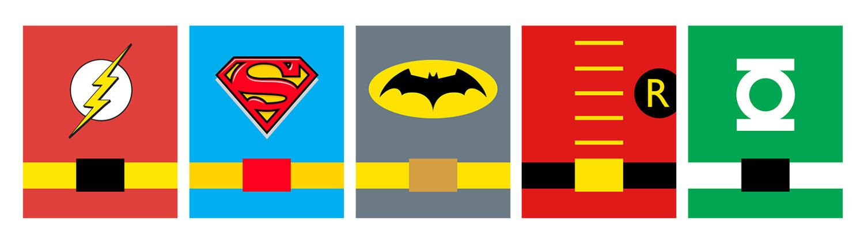 Kids Bathroom - Set of 5 Superhero with belt Typography Poster Print
