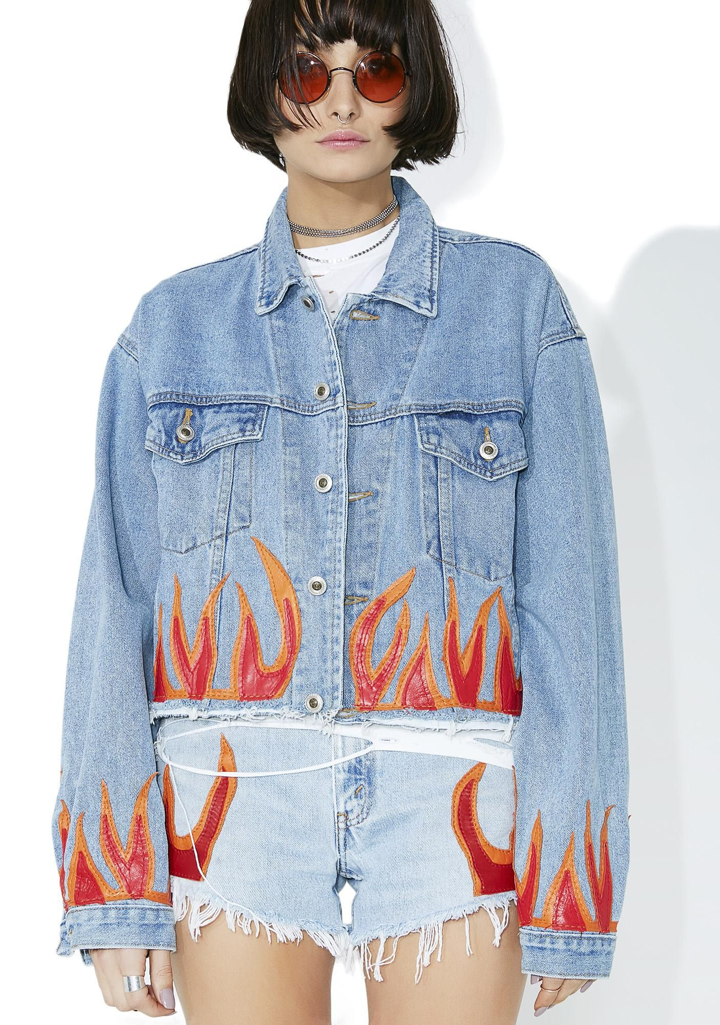 95bbb06bf Red Flame Denim Jacket | U Totally Had This CD | Red denim jacket ...