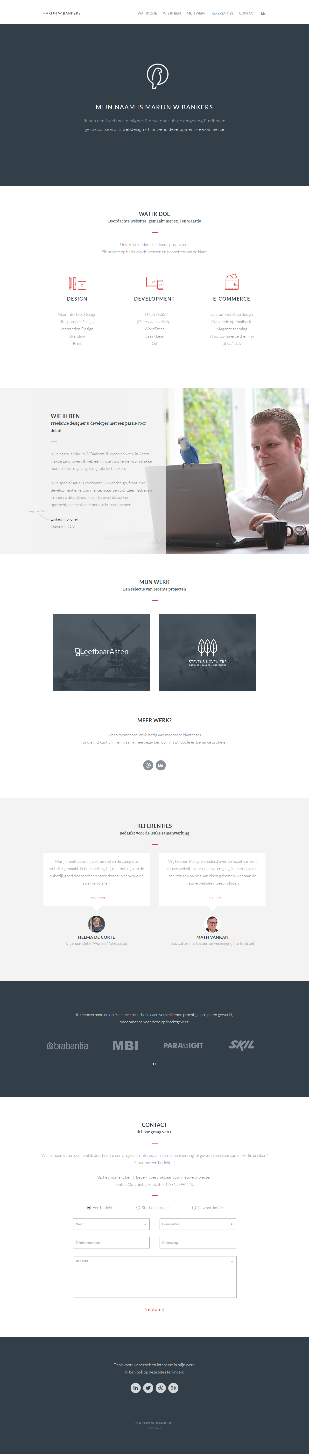 Clean responsive one page portfolio integrated into WordPress for Dutch front-end dev, Marijn W Bankers. I just love the load transitions on the icons in the intro.