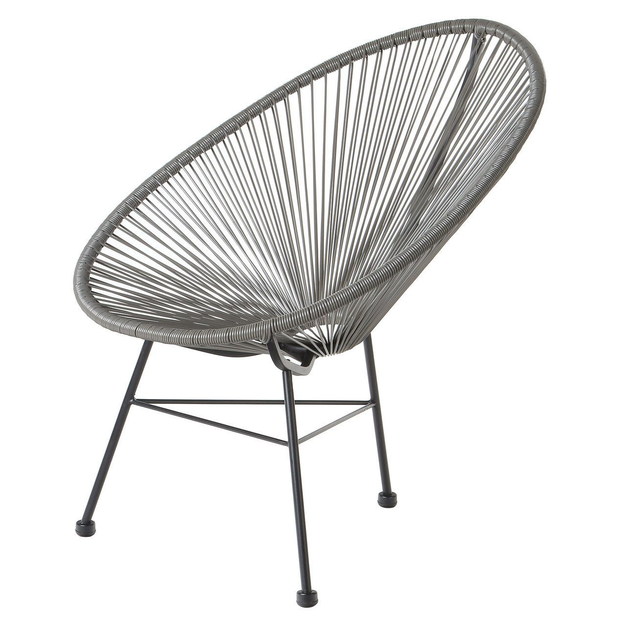 Acapulco Lounge Chair Metal Stool Grey Wire Basket Patio