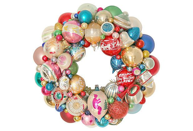 One Kings Lane - Hello for the Holidays - Holiday Wreath  w/  Ornaments