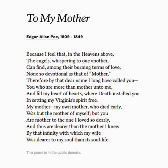 Read To My Mother By Edgar Allan Poe For Mothers Day