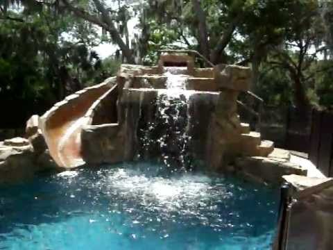 Swimming Pool With Rock Waterfall And Slide Youtube