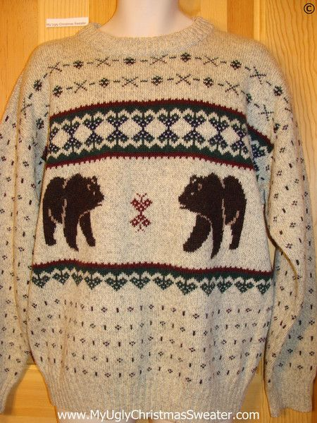 ugly christmas sweater party vintage nordic sweater with bears by woolrich