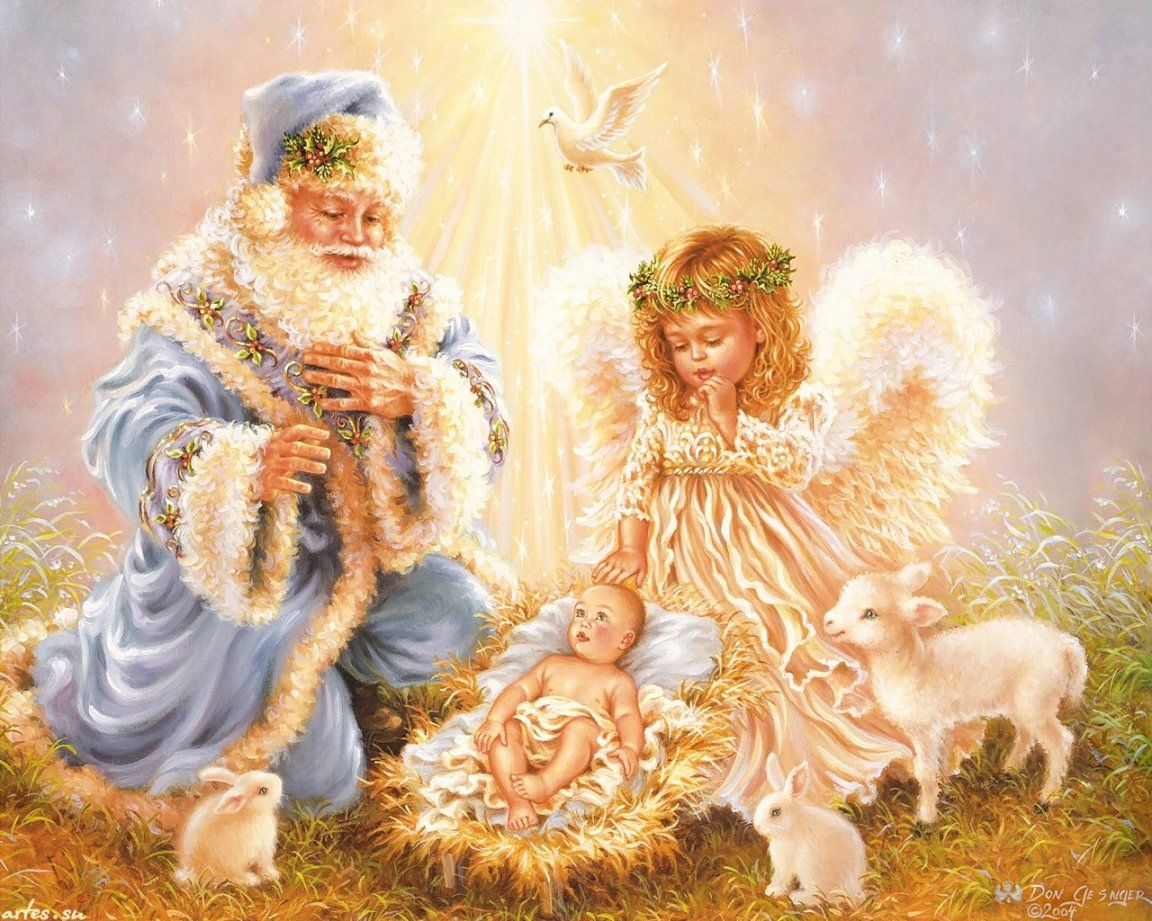 dona gelsinger artist santa in blue little angel baby