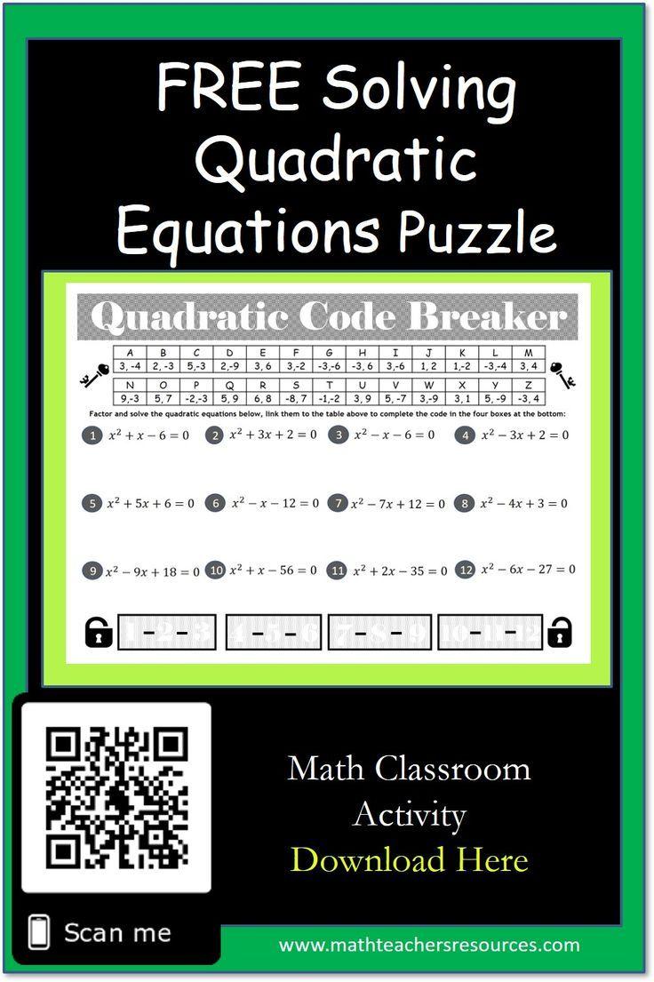 Solving Quadratic Equations Puzzle With Answers Included Solving Quadratic Equations Quadratics Quadratic Equation [ 1105 x 736 Pixel ]