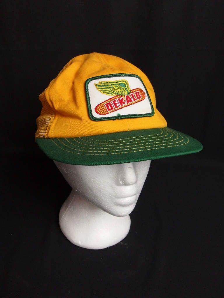 03d2384d50096 Vintage Dekalb Hat Trucker Baseball Cap Yellow Green Farmer Seed ...