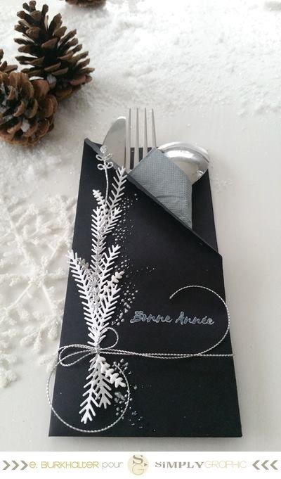 votre déco pour la table du réveillon   Emilie Burkhalter vous propose  marque-places, range-couverts et rond de serviette encore réal. 0c85a9f7f45