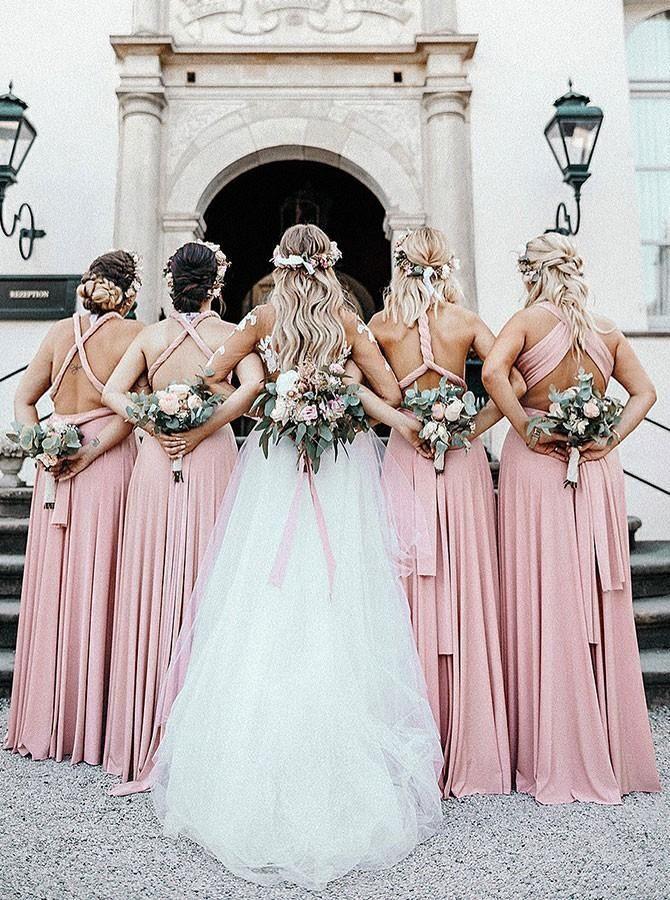 Photo of A-Line bodenlange rückenfreie rosa Brautjungfernkleider mit V-Ausschnitt, …