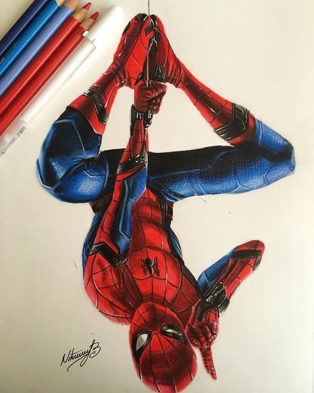 Drawing Of Spiderman From Spiderman Homecoming I Drew Him With Farber Castell Polychromo Spiderman Homecoming Drawing Spiderman Comic Art Spiderman Drawing