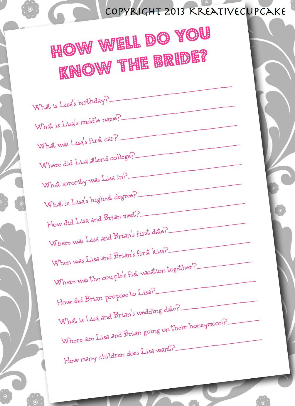 Items Similar To Diy Printable Bridal Shower How Well Do You Know The Bride Printing Service Optional On Etsy