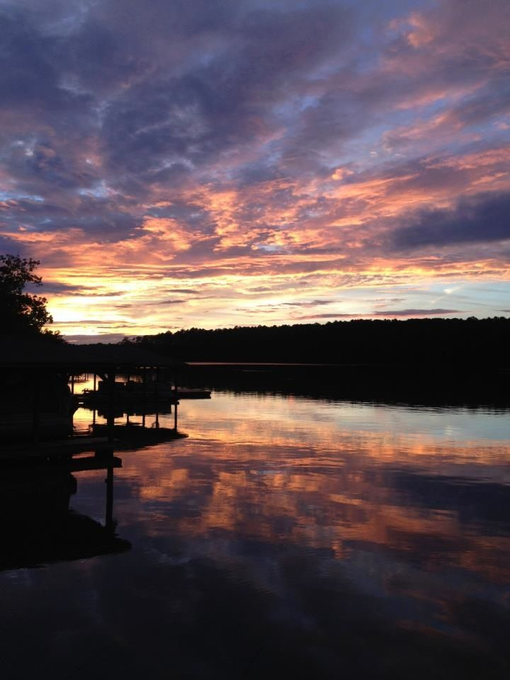 Beautiful Sunset Taken From A Small Lake Cottage On Lake Sinclair