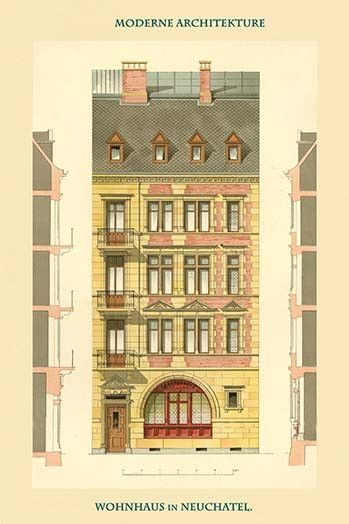 Residence in Neuchatel. High quality vintage art reproduction by Buyenlarge. One of many rare and wonderful images brought forward in time. I hope they bring you pleasure each and every time you look