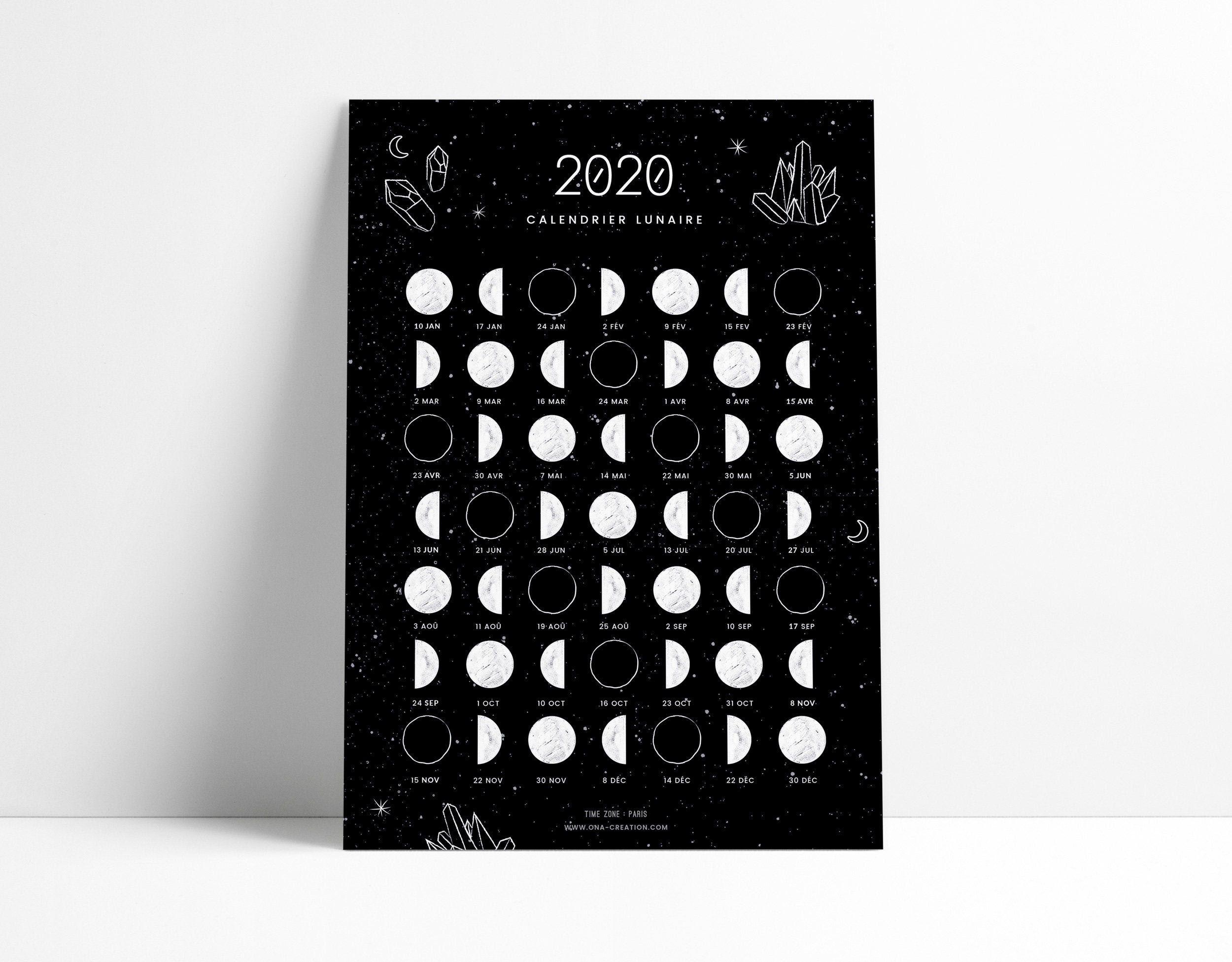 Calendrier lunaire 2020, phases de lune, Carte A5, Moon Calendar