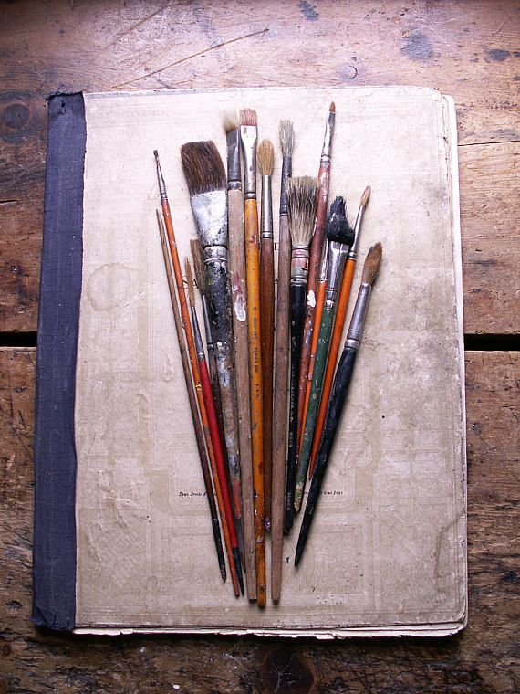 Vintage Set of Artist Paint Brushes and Tools Artist