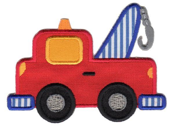 "Tow Truck Iron-On Applique Patch -  Size: 3"" x 3-3/4"" (7-1/2 x 9-1/2 cm) - $5.49"