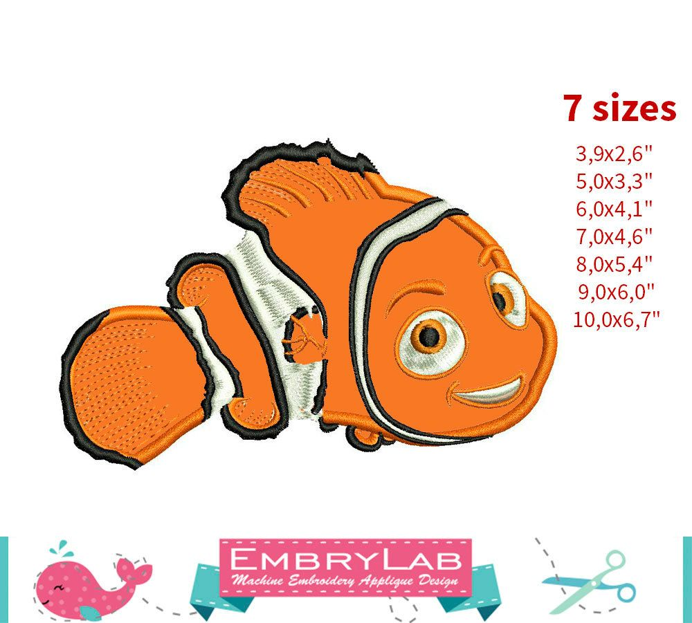 Applique Nemo Fish. Finding Dory. Machine Embroidery Applique Design. Instant Digital Download (16266) by EmbryLab on Etsy
