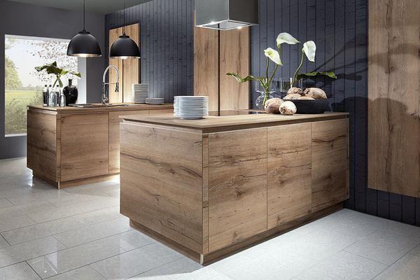 Une cuisine design allemande sans poign e en bois de marque schroeder vous est propos e par l - Cuisine de marque allemande ...