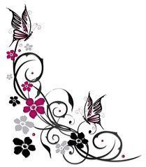 vektor ranke flora bluten schmetterlinge schwarz pink schmetterlingszeichnung blumenzeichnung blumen tattoo vorlage zeichenprogramm procreate vektorgrafik