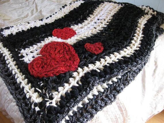 Black And White Stripes Crochet Blanket Nightmare Before Christmas Red Hearts Disney Blanket Crochet Blanket Striped Crochet Blanket Chunky Crochet Blanket