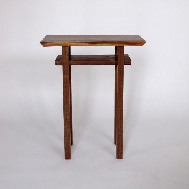 Small Narrow Table Tall End Tables Solid Wood Accent With Storage Shelf Furniture Handmade In The Usa