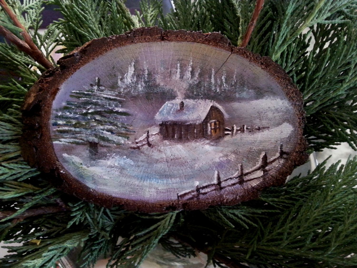 Handmade Painting On Wood  The Snow Landscape  Painted Tree Branch,  Mountain House