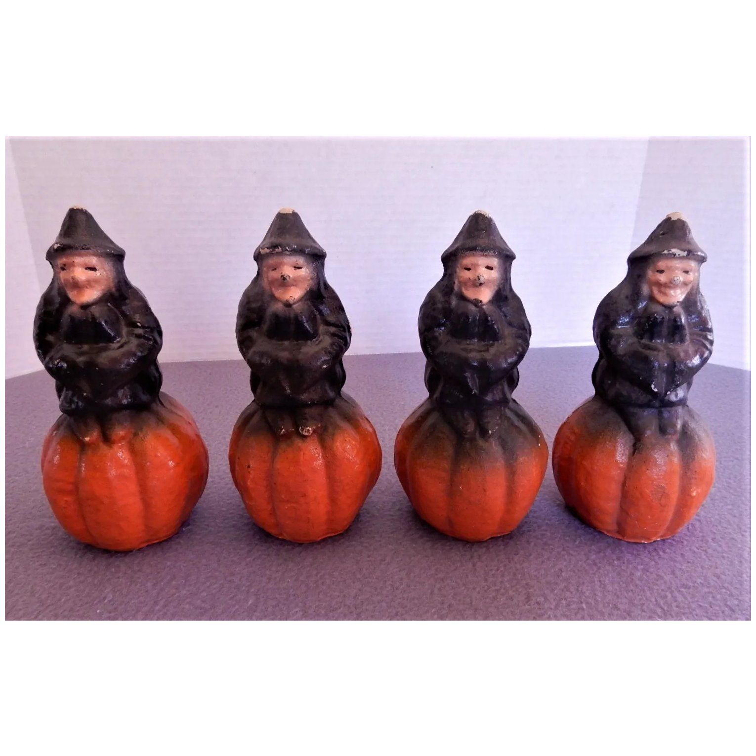 Halloween Paper Mache Witch on Pumpkin Candy Container