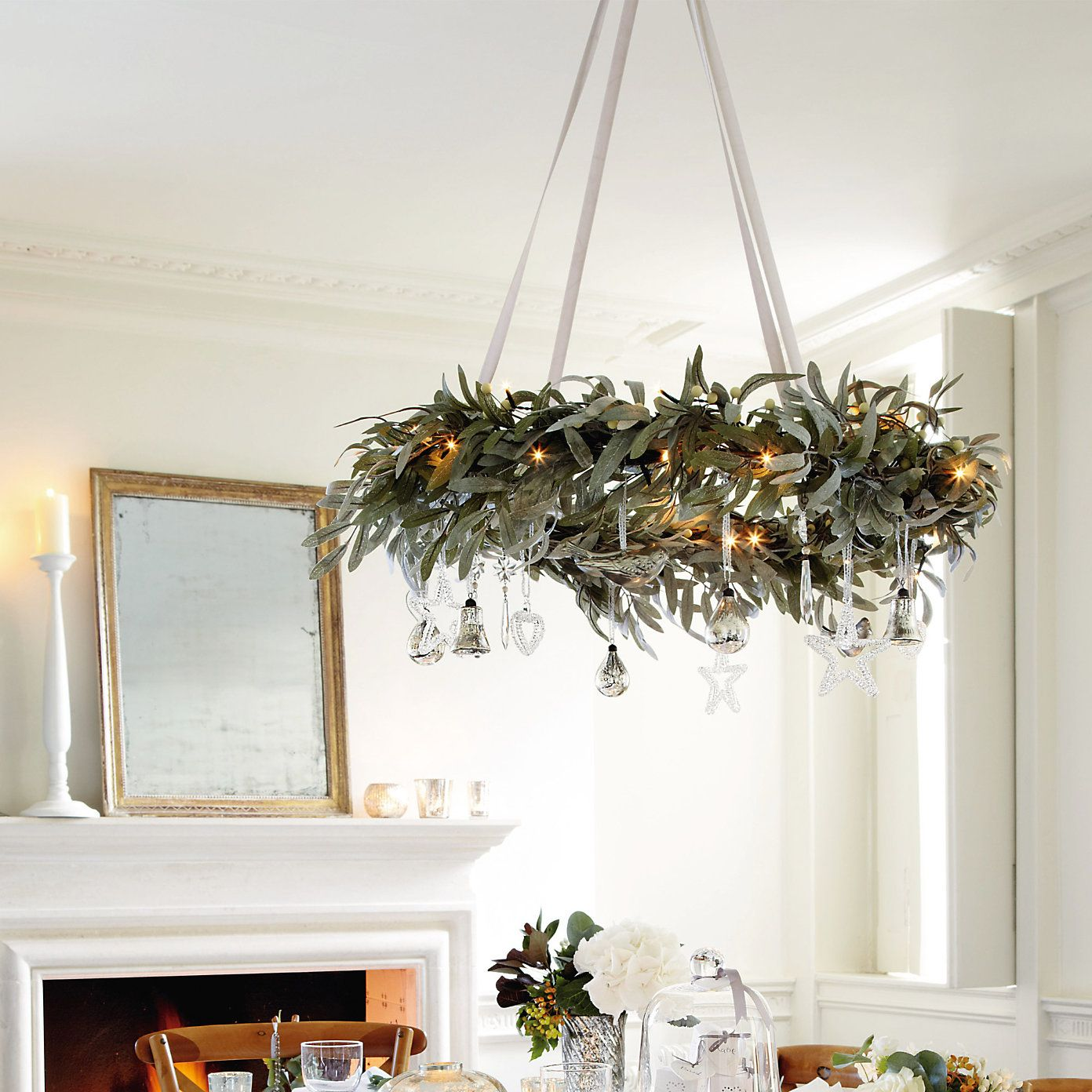 This Frosted Leaf Wreath Would Be So Pretty Over The Bride And Groom S Table Or The C Christmas Chandelier Christmas Table Settings Christmas Table Decorations