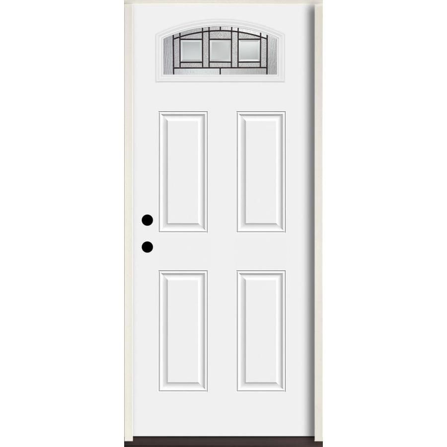 Reliabilt Craftsman 1 4 Lite Decorative Glass Right Hand Inswing Arctic White Painted Fiberglass Prehung Entry Door With I Glass Decor Entry Doors White Paints