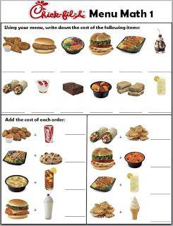 Empowered By THEM ChickFilA Menu menu math worksheets