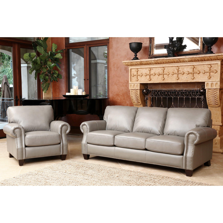 Best Abbyson Landon Top Grain Leather 2 Piece Living Room Set 400 x 300